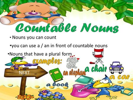 Nouns you can count NEXT you can use a / an in front of countable nouns Nouns that have a plural form.