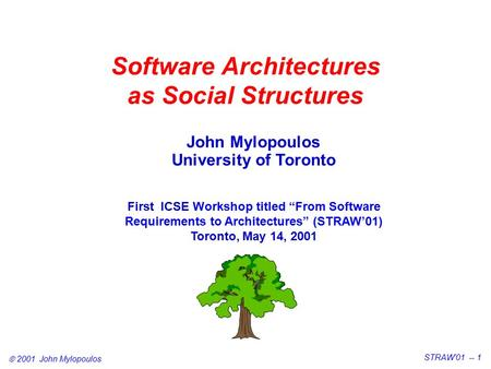 " 2001 John Mylopoulos STRAW'01 -- 1 Software Architectures as Social Structures John Mylopoulos University of Toronto First ICSE Workshop titled ""From."