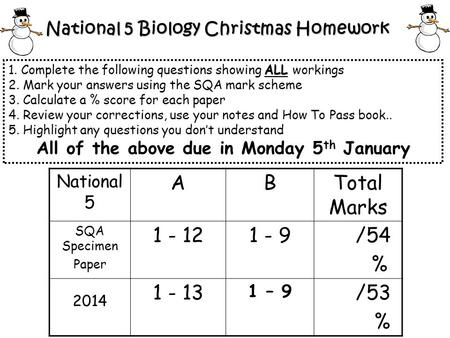 National 5 Biology Christmas Homework ALL 1. Complete the following questions showing ALL workings 2. Mark your answers using the SQA mark scheme 3. Calculate.
