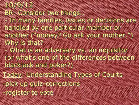 "10/9/12 BR- Consider two things.. - In many families, issues or decisions are handled by one particular member or another (""money? Go ask your mother."")"