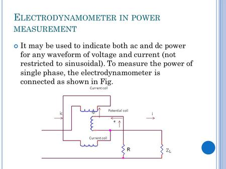 E LECTRODYNAMOMETER IN POWER MEASUREMENT It may be used to indicate both ac and dc power for any waveform of voltage and current (not restricted to sinusoidal).