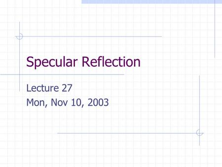 Specular Reflection Lecture 27 Mon, Nov 10, 2003.