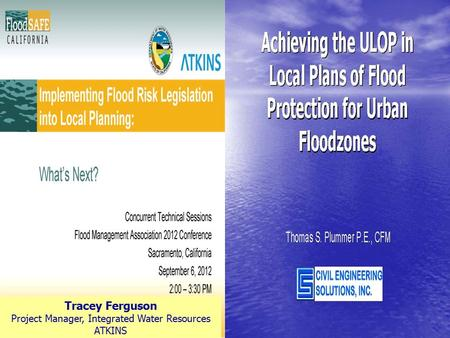 Tracey Ferguson Project Manager, Integrated Water Resources ATKINS.