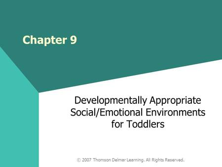 © 2007 Thomson Delmar Learning. All Rights Reserved. Chapter 9 Developmentally Appropriate Social/Emotional Environments for Toddlers.