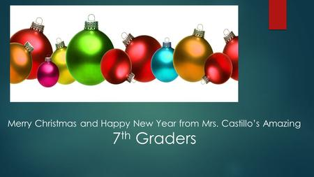 Merry Christmas and Happy New Year from Mrs. Castillo's Amazing 7 th Graders.