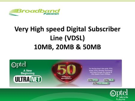 Very High speed Digital Subscriber Line (VDSL) 10MB, 20MB & 50MB.