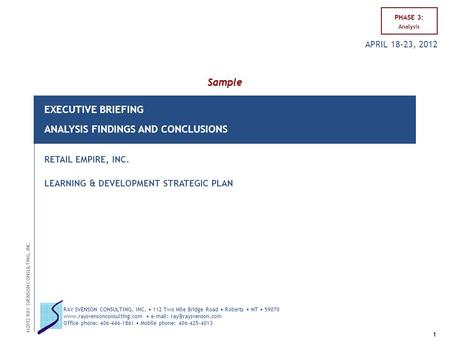 EXECUTIVE BRIEFING ANALYSIS FINDINGS AND CONCLUSIONS RETAIL EMPIRE, INC. LEARNING & DEVELOPMENT STRATEGIC PLAN Sample PHASE 3: Analysis 1 ©2012 RAY SVENSON.