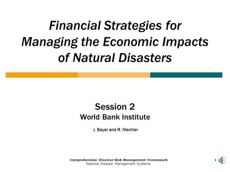 1Comprehensive Disaster Risk Management Framework National Disaster Management Systems 111 Financial Strategies for Managing the Economic Impacts of Natural.