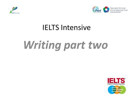 IELTS Intensive Writing part two. IELTS Writing Two parts of ielts writing Part one writing about a Graph, chart, diagram Part two is an essay.