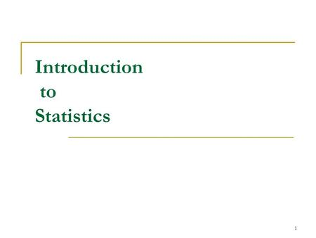 1 Introduction to Statistics. 2 What is Statistics? The gathering, organization, analysis, and presentation of numerical information.