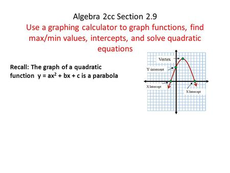 Algebra 2cc Section 2.9 Use a graphing calculator to graph functions, find max/min values, intercepts, and solve quadratic equations Recall: The graph.
