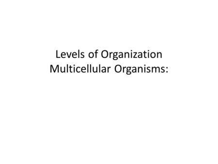 Levels of Organization Multicellular Organisms: I. First Level: Cells Cells are the first level or simplest level of organization.