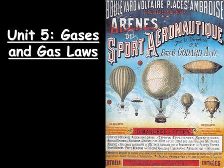 Unit 5: Gases and Gas Laws. Kinetic Molecular Theory  Particles of matter are ALWAYS in motion  Volume of individual particles is  zero.  Collisions.