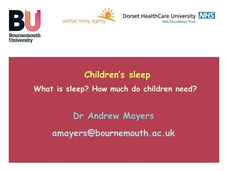 Children's sleep What is sleep? How much do children need? Dr Andrew Mayers