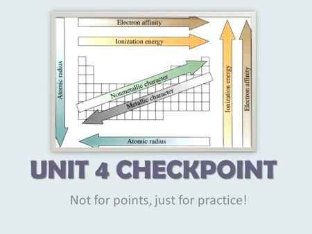 UNIT 4 CHECKPOINT Not for points, just for practice!