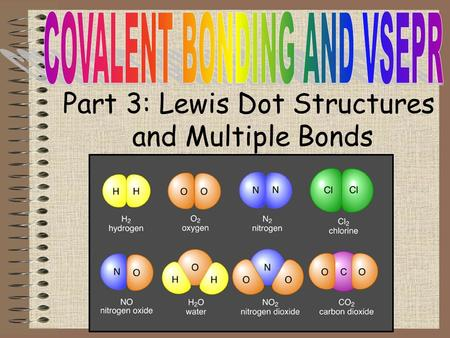 Part 3: Lewis Dot Structures and Multiple Bonds. Objectives To learn how to depict covalent bonds with Lewis Dot Structures To understand the difference.