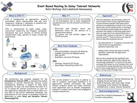 Event Based Routing In Delay Tolerant Networks Rohit Mullangi And Lakshmish Ramaswamy DTN is fundamentally an opportunistic network environment, where.