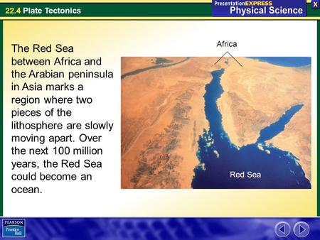 22.4 Plate Tectonics The Red Sea between Africa and the Arabian peninsula in Asia marks a region where two pieces of the lithosphere are slowly moving.