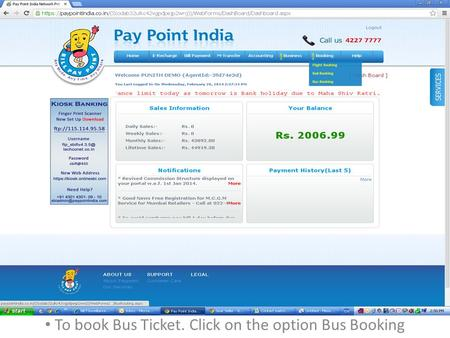 To book Bus Ticket. Click on the option Bus Booking.