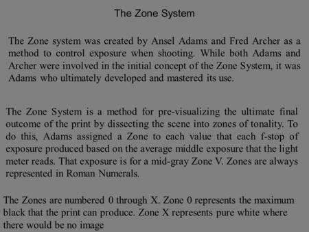 Definition: Zone System