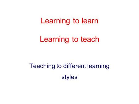 Learning to learn Learning to teach