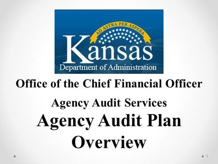 Office of the Chief Financial Officer Agency Audit Services Agency Audit Plan Overview 1.