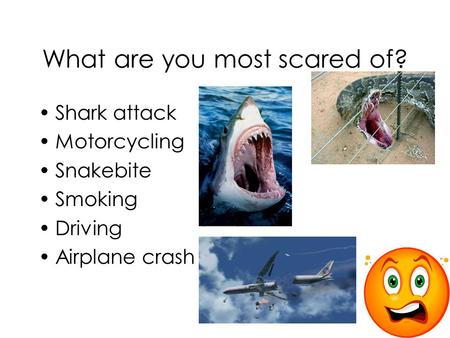 What are you most scared of? Shark attack Motorcycling Snakebite Smoking Driving Airplane crash.