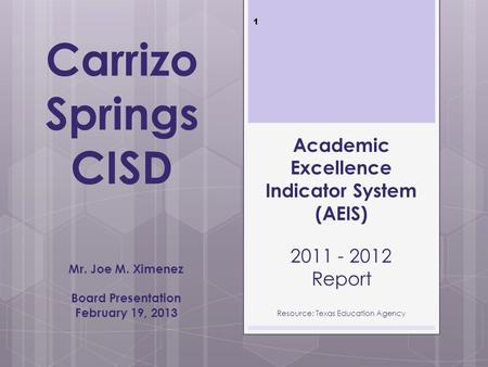 Carrizo Springs CISD Mr. Joe M. Ximenez Board Presentation February 19, 2013 Academic Excellence Indicator System (AEIS) 2011 - 2012 Report Resource: Texas.