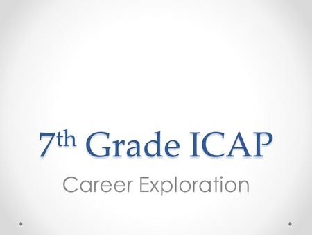 7 th Grade ICAP Career Exploration. Do Now Describe an activity, game, sport, etc. that you love to play. Describe the setting. While playing, are you.