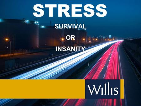 STRESS SURVIVAL OR INSANITY. What Exactly is Stress? Stress, by definition, is the inability to cope with a threat (real or imagined) to your well-being,