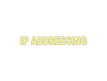 IP Addressing is Logical Addressing It works on Network Layer (Layer 3) Two Version of Addressing Scheme IP version 4 – 32 bit addressing IP version 6.