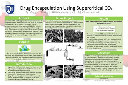 Drug Encapsulation Using Supercritical CO₂ By: Maggie L. Plante │ UNH Manchester │ Abstract Supercritical CO₂ can help green the.