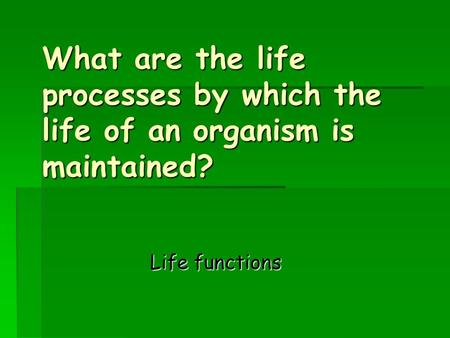 What are the life processes by which the life of an organism is maintained? What are the life processes by which the life of an organism is maintained?