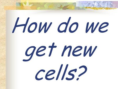 How do we get new cells? Cells reproduce through a process called …