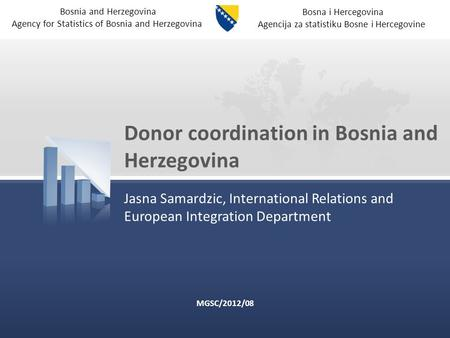 Bosna i Hercegovina Agencija za statistiku Bosne i Hercegovine Bosnia and Herzegovina Agency for Statistics of Bosnia and Herzegovina Donor coordination.