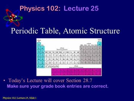 Physics 102: Lecture 25, Slide 1 Periodic Table, Atomic Structure Today's Lecture will cover Section 28.7 Physics 102: Lecture 25 Make sure your grade.