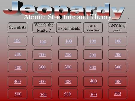 100 200 300 400 500 100 200 300 400 500 400 300 200 100 200 300 400 500 100 200 300 400 500 Atomic Structure and Theory Scientists What's the Matter?