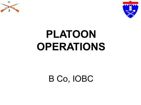 PLATOON OPERATIONS B Co, IOBC.