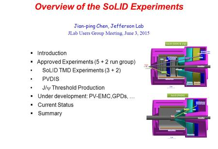 Overview of the SoLID Experiments Jian-ping Chen, Jefferson Lab JLab Users Group Meeting, June 3, 2015  Introduction  Approved Experiments (5 + 2 run.