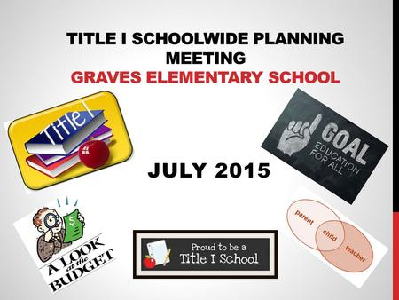 TITLE I SCHOOLWIDE PLANNING MEETING GRAVES ELEMENTARY SCHOOL JULY 2015.