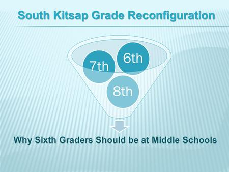 8th7th6th South Kitsap Grade Reconfiguration Why Sixth Graders Should be at Middle Schools.