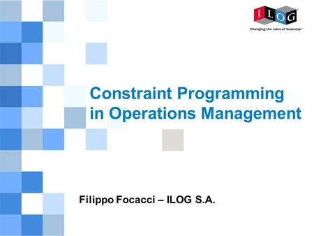 Constraint Programming in Operations Management