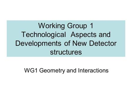 Working Group 1 Technological Aspects and Developments of New Detector structures WG1 Geometry and Interactions.