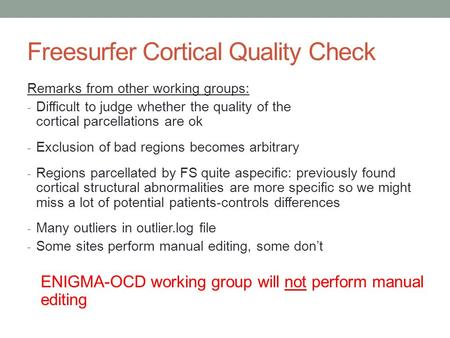 Freesurfer Cortical Quality Check