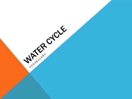 WATER CYCLE VOCABULARY. WATER CYCLE Purpose of the cycle is to collect, purify, and distribute the earth's fixed supply of water.