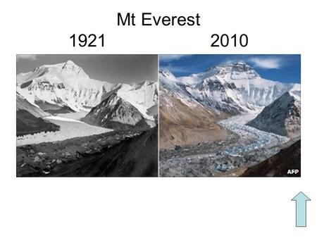 Mt Everest 1921 2010. You should have created a table of impacts. Walk around the class and add to your table.
