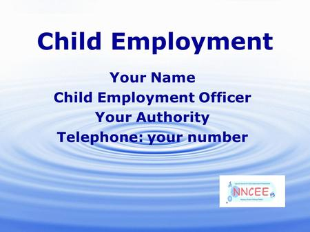 19/01/2016 Child Employment Your Name Child Employment Officer Your Authority Telephone: your number.