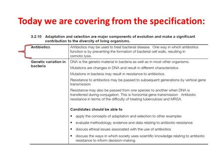 Today we are covering from the specification:. Starter 1.What are antibiotics used for? 2.Who can obtain antibiotics? 3.When shouldn't antibiotics be.