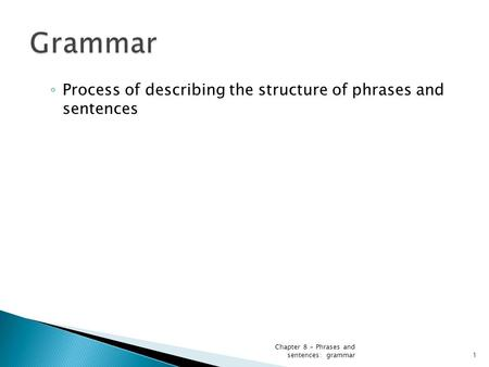 ◦ Process of describing the structure of phrases and sentences Chapter 8 - Phrases and sentences: grammar1.