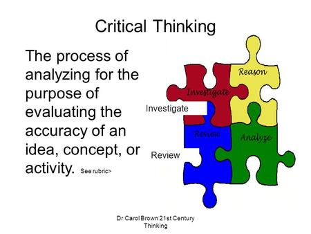 Dr Carol Brown 21st Century Thinking The process of analyzing for the purpose of evaluating the accuracy of an idea, concept, or activity. See rubric>